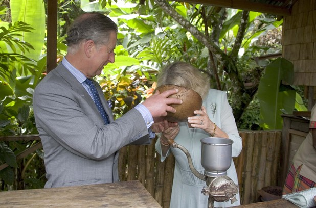 Prince Charles, The Prince Of Wales And Camilla, Duchess Of Cornwall At The Fond Doux Cocoa Plantation In St Lucia On The Fourth Day Of Their Caribbean Tour. (Photo by Mark Cuthbert/UK Press via Getty Images)