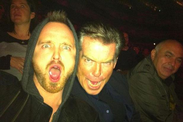 Pierce Brosnan, Aaron Paul at the Radiohead gig in 2012.