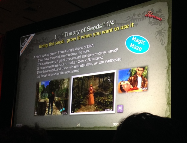 Shenmue Yu Suzuki GDC talk - Magic Seed
