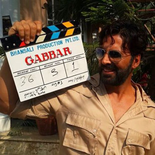 Akshay Kumar on the set of 'Gabbar'