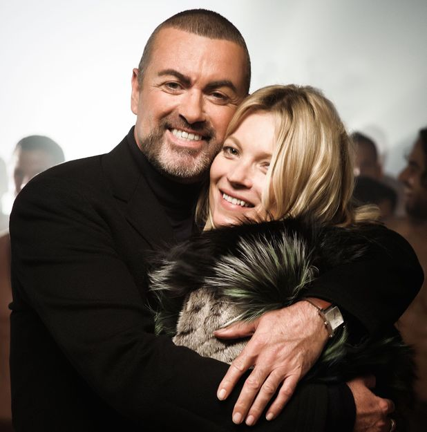 George Michael and Kate Moss during the making of the video for 'White Light'