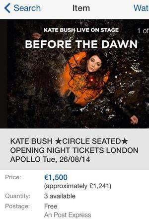 Kate Bush tickets for sale on auction sites for £1,475