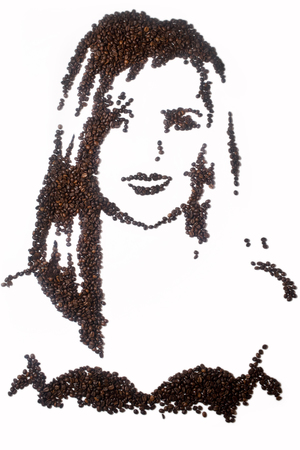 Amanda Holden recreated with coffee beans