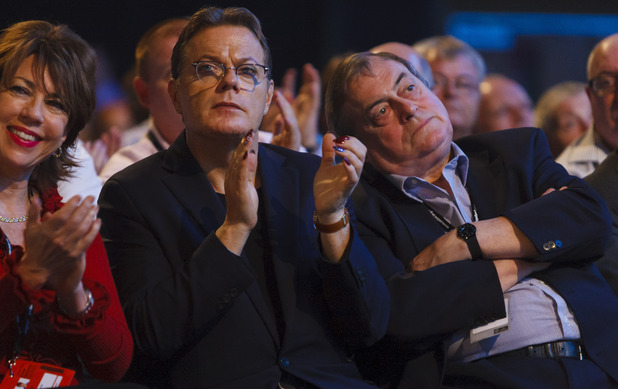 Eddie Izzard and Lord John Prescott at the 2013 Labour Party conference