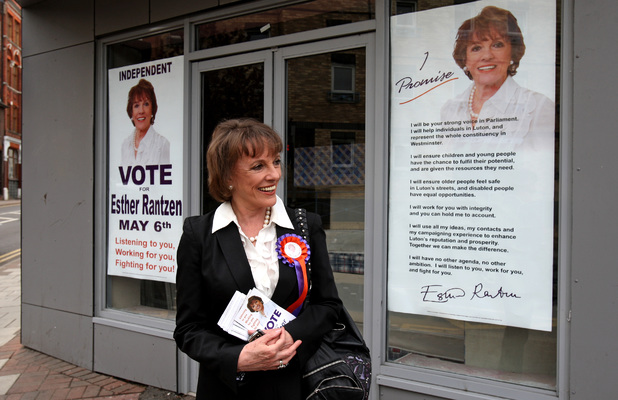 Esther Rantzen canvassing for votes during the 2010 general election campaign