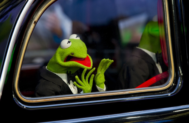 Kermit the Frog arriving at the premiere of Muppets Most Wanted, at the Curzon Cinema in Mayfair, London.