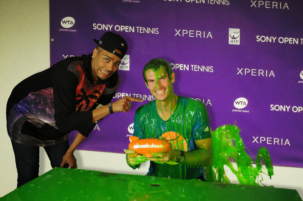 Jordan Banjo laughs at Andy Murray getting slimed for the Nickelodeon Kids' Choice Awards