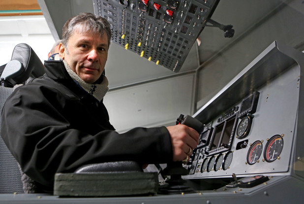 Iron Maiden front man Bruce Dickinson inside the world's largest aircraft known as the HAV304 at its launch at Cardington Hanger in Bedfordshire.