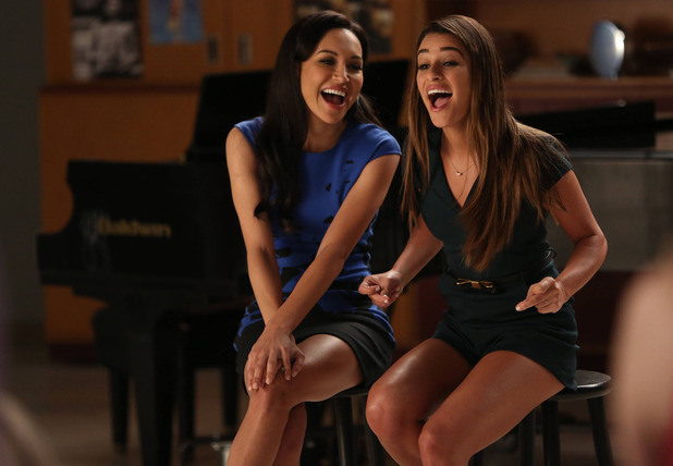 Naya Rivera as Santana and Lea Michele as Rachel in the Glee: 'New Directions'