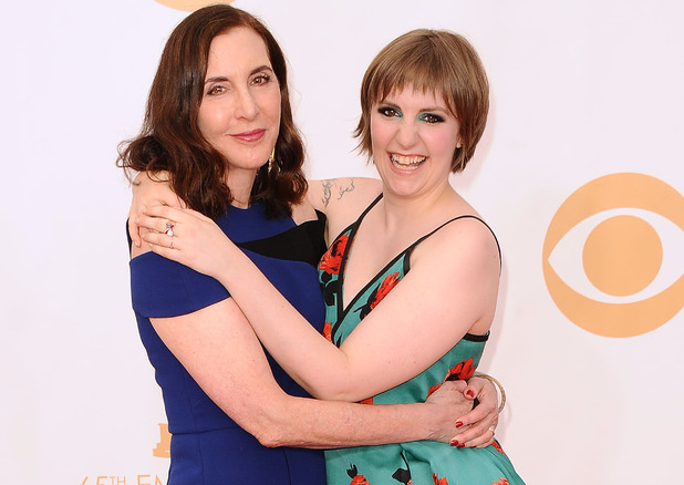 LOS ANGELES, CA - SEPTEMBER 22: Actress Lena Dunham (R) and mother Laurie Simmons attend the 65th annual Primetime Emmy Awards at Nokia Theatre L.A. Live on September 22, 2013 in Los Angeles, California. (Photo by Jason LaVeris/FilmMagic)