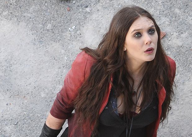 Elizabeth Olsen is seen filming on location for 'Avengers: Age of Ultron' on March 24, 2014 in Aosta, Italy.