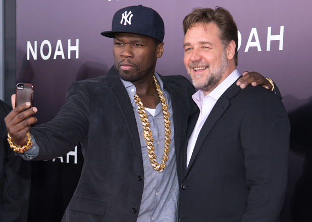 NEW YORK, NY - MARCH 26: Curtis '50 Cent' Jackson and Russell Crowe attend the 'Noah' premiere at Ziegfeld Theatre on March 26, 2014 in New York City. (Photo by Mike Pont/FilmMagic)