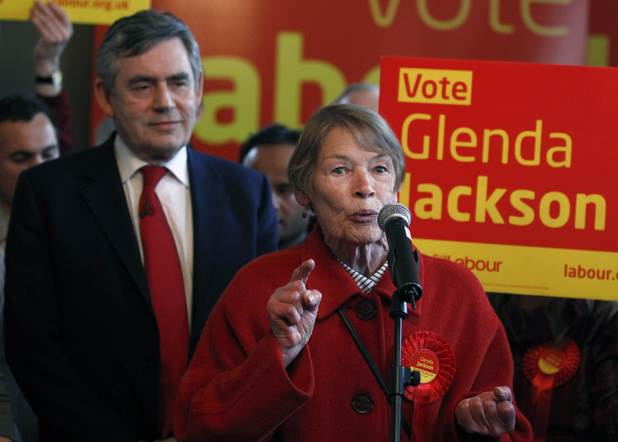 Glenda Jackson is joined by Gordon Brown as she campaigns for re-election to the House of Commons, May 2010