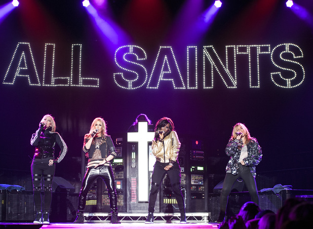 BIRMINGHAM, UNITED KINGDOM - MARCH 26: Melanie Blatt, Shaznay Lewis, Nicole Appleton and Natalie Appleton of All Saints perform on stage at LG Arena on March 26, 2014 in Birmingham, United Kingdom. (Photo by Steve Thorne/Redferns via Getty Images)