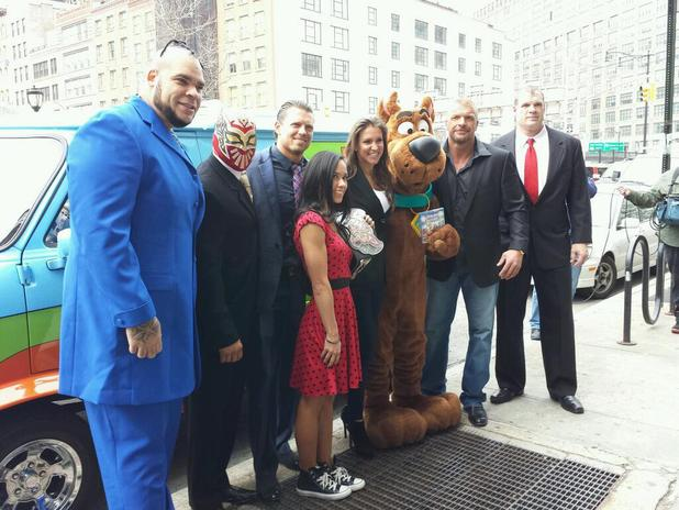Brodus Clay, Sin Cara, AJ Lee, Stephanie McMahon, Triple H and Kane