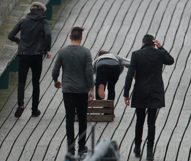 One Direction on the Set of Their New Music Video, Clevedon Pier, Somerset, Britain - 24 Mar 2014 Harry Styles, Liam Payne, Louis Tomlinson, Niall Horan, Zayn Malik 24 Mar 2014