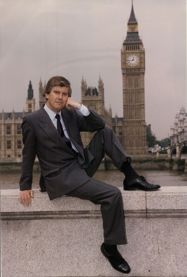 1992: Gyles Brandreth outside the Houses of Parliament