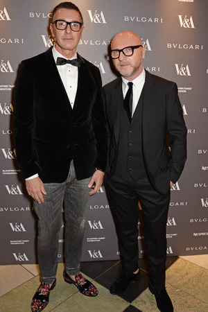 LONDON, ENGLAND - APRIL 01: Stefano Gabbana (L) and Domenico Dolce attend a private dinner celebrating the Victoria and Albert Museum's new exhibition 'The Glamour Of Italian Fashion 1945 - 2014' at Victoria and Albert Museum on April 1, 2014 in London, England. (Photo by David M. Benett/Getty Images)
