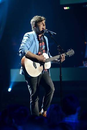 Alex Preston performs on American Idol as part of the Top 8 performances