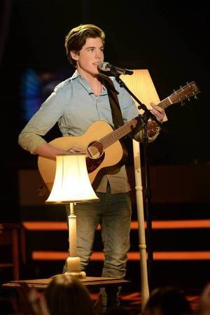 Sam Woolf performs on American Idol as part of the Top 8 performances