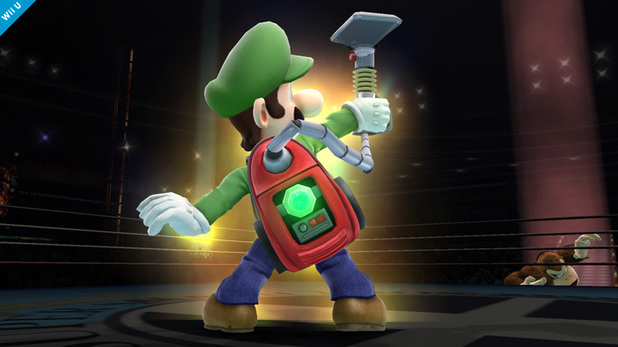 Luigi and his Poltergust in Super Smash Bros