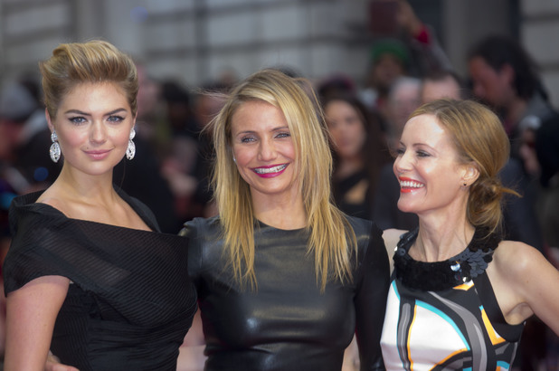 LONDON, UNITED KINGDOM - APRIL 02: Kate Upton, Cameron Diaz and Leslie Mann attend the UK Gala premiere of 'The Other Woman' at The Curzon Mayfair on April 2, 2014 in London, England. (Photo by Julian Parker/UK Press via Getty Images)