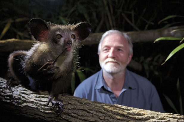 Dr George McGavin with an aye-aye on Monkey Planet