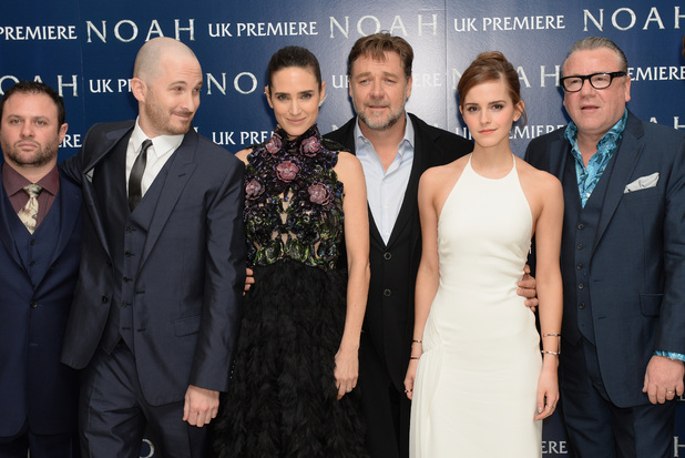 LONDON, ENGLAND - MARCH 31: (L to R) Producer Scott Franklin, director Darren Aronofsky, actors Jennifer Connelly, Russell Crowe, Emma Watson and Ray Winstone attend the UK Premiere of 'Noah' at the Odeon Leicester Square on March 31, 2014 in London, England. (Photo by Dave J Hogan/Getty Images for Paramount Pictures International)