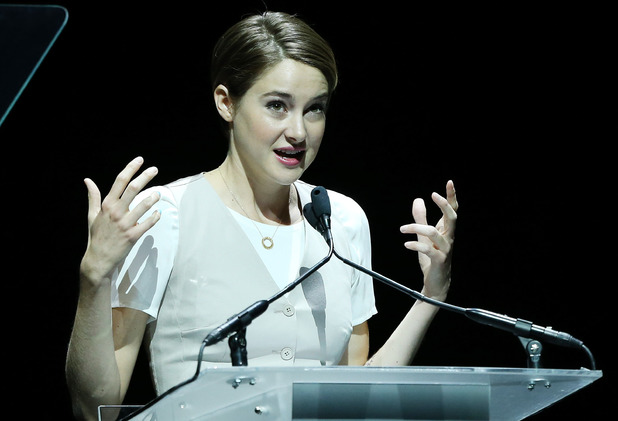 LAS VEGAS, NV - MARCH 27: Shailene Woodley speaks onstage during 20th Century Fox's Special Presentation at Cinemacon 2014 - Day 4 held at The Colosseum at Caesars Palace on March 27, 2014 in Las Vegas, Nevada. (Photo by Michael Tran/FilmMagic)