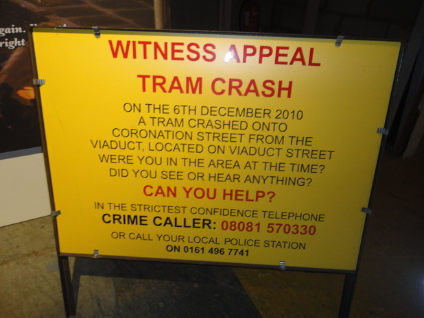 Tram crash appeal sign