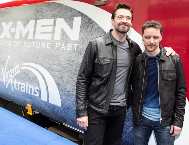 Hugh Jackman and James McAvoy unveil Virgin's new X-Men: Days of Future Past train.