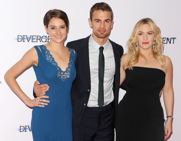 LONDON, ENGLAND - MARCH 30: (L-R) Shailene Woodley, Theo James and Kate Winslet attends the European premiere of 'Divergent' at Odeon Leicester Square on March 30, 2014 in London, England. (Photo by Dave J Hogan/Getty Images)