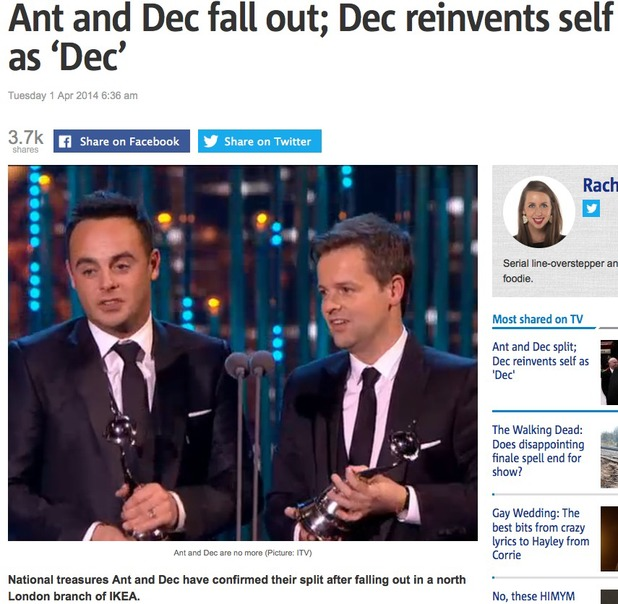 Metro's Ant and Dec April Fool's
