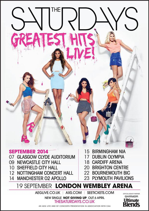 The Saturdays 'Greatest Hits Live' tour poster.