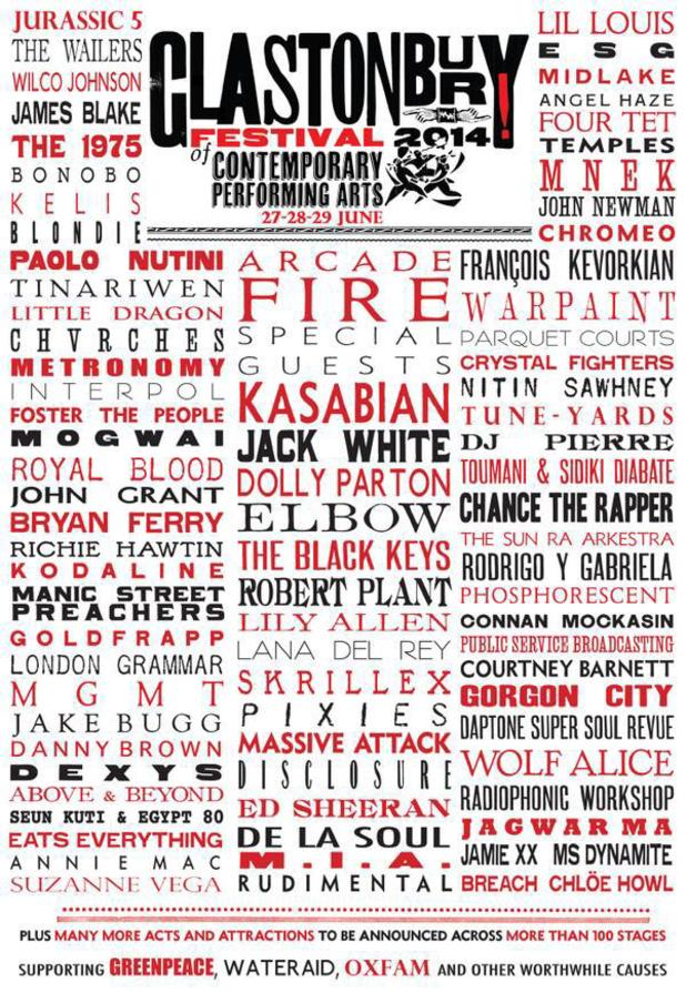 Glastonbury 2014 lineup