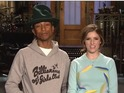 Anna Kendrick and Pharrell Williams admire each other's hit songs in clip.
