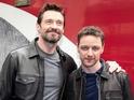 Stars unveil newly refurbished, 11-car X-Men themed train in London.