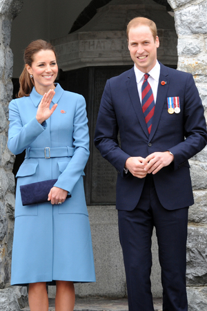 BLENHEIM, NEW ZEALAND - APRIL 10: Prince William, Duke of Cambridge and Catherine, Duchess of Cambridge attend the wreath laying ceremony at the Blenheim War Memorial on April 10, 2014 in Blenheim, New Zealand. The Duke and Duchess of Cambridge are on a three-week tour of Australia and New Zealand, the first official trip overseas with their son, Prince George of Cambridge. (Photo by Ross Setford-Pool/Getty Images)