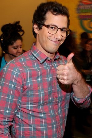 LOS ANGELES, CA - MARCH 29: Actor Andy Samberg backstage at Nickelodeon's 27th Annual Kids' Choice Awards held at USC Galen Center on March 29, 2014 in Los Angeles, California. (Photo by Mark Davis/KCA2014/Getty Images)