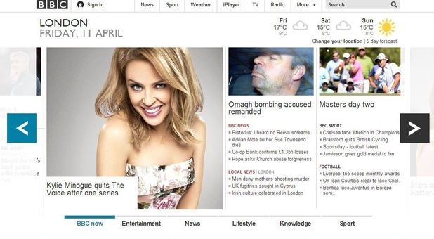 The BBC Online homepage today