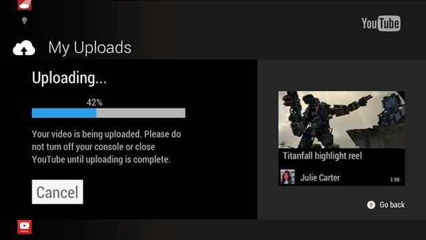 YouTube video uploading for Xbox One