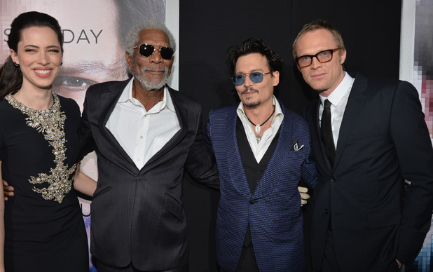 Caption:WESTWOOD, CA - APRIL 10: (L-R) Actors Rebecca Hall, Morgan Freeman, Johnny Depp and Paul Bettany attend the premiere of Warner Bros. Pictures and Alcon Entertainment's 'Transcendence' at Regency Village Theatre on April 10, 2014 in Westwood, California. (Photo by Lester Cohen/Getty Images)