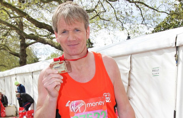 Gordon Ramsay poses at the Virgin London Marathon 2012