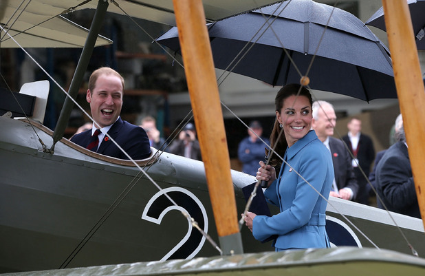 WELLINGTON, NEW ZEALAND - APRIL 10: Catherine, Duchess of Cambridge and Prince William, Duke of Cambridge are seen looking at a Sopwith Pup at the 'Knights of the Sky' exhibition at Omaka Aviation Heritage Centre in Blenheim on April 10, 2014 in Wellington, New Zealand. The Duke and Duchess of Cambridge are on a three-week tour of Australia and New Zealand, the first official trip overseas with their son, Prince George of Cambridge. (Photo by Danny Martindale/WireImage)