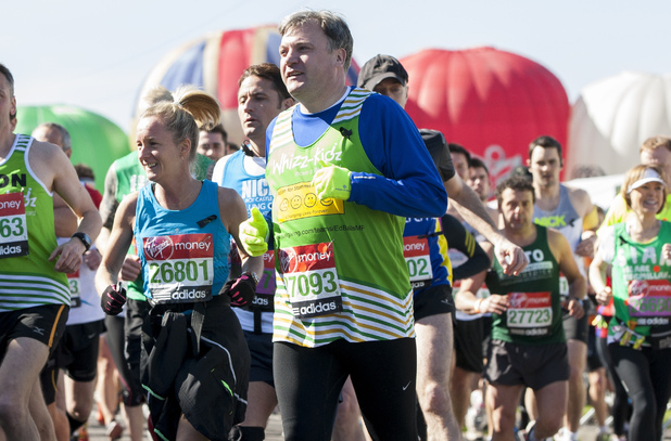 Ed Balls during the Virgin London Marathon 2013