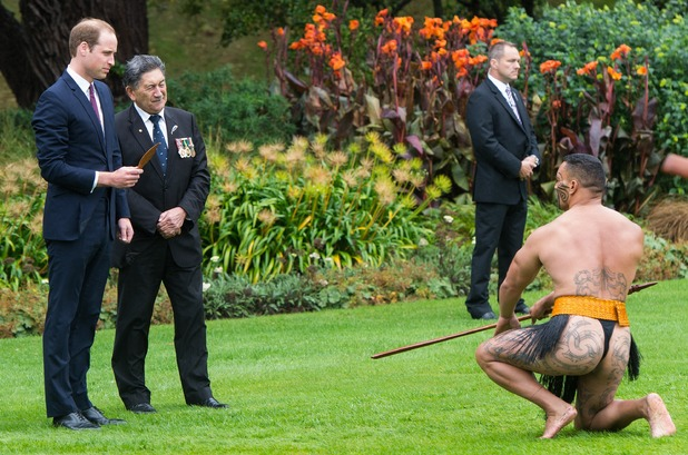 Caption:WELLINGTON, NEW ZEALAND - APRIL 07: Prince William, Duke of Cambridge watches a Maori Powhiri Ceremonial Welcome at Government House on April 7, 2014 in Wellington, New Zealand. The Duke and Duchess of Cambridge are on a three-week tour of Australia and New Zealand, the first official trip overseas with their son, Prince George of Cambridge. (Photo by Samir Hussein/WireImage)