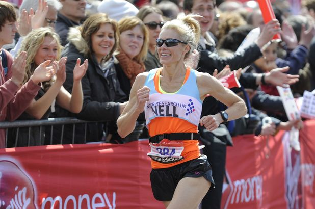 Nell McAndrew takes part in the Virgin London Marathon 2012