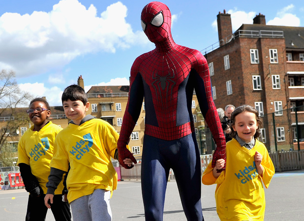 LONDON, ENGLAND - APRIL 08: (EXCLUSIVE COVERAGE) Spider-man actor Andrew Garfield visits local London charity, Kids' C