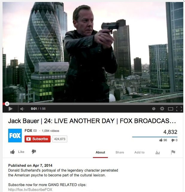 FOX misidentifies Kiefer Sutherland as Donald Sutherland on YouTube