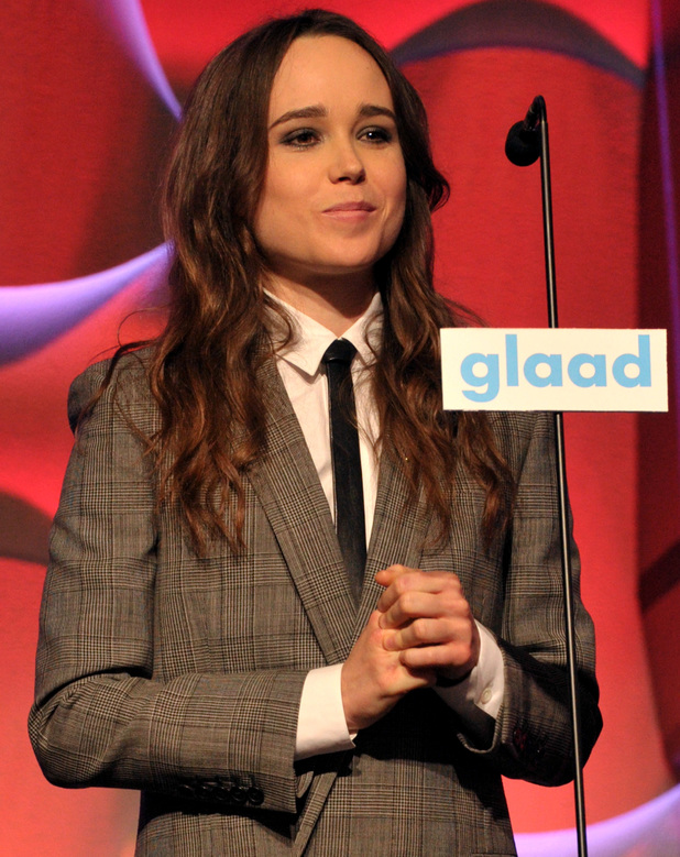 Ellen Page presents an award at the GLAAD Media Awards at The Beverly Hilton Hotel